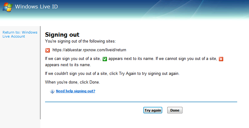 RPXnow and Windows live ID, problems signing out · ABlueStar