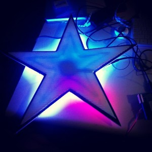 a blue star sign