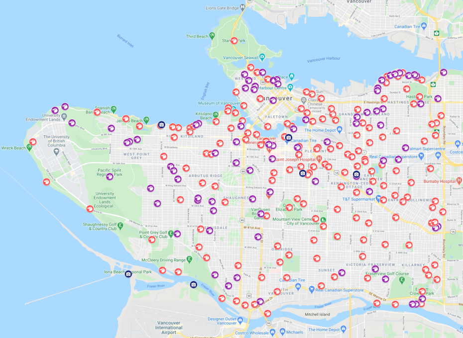 Map of all the parks in Vancouver